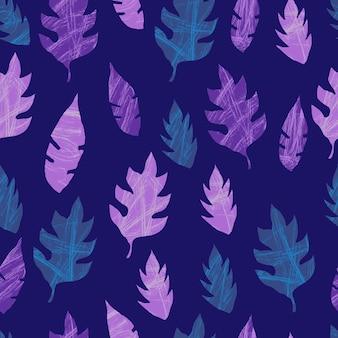 Шаблон с листьями фиолетовый бесшовные модели текстурированные листья складе векторная иллюстрация