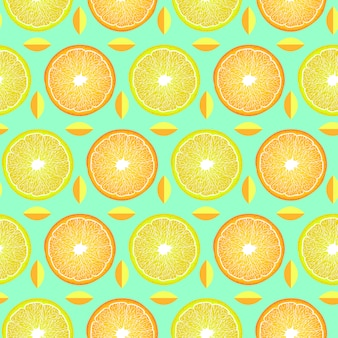 Узор с дольками лимона и апельсина