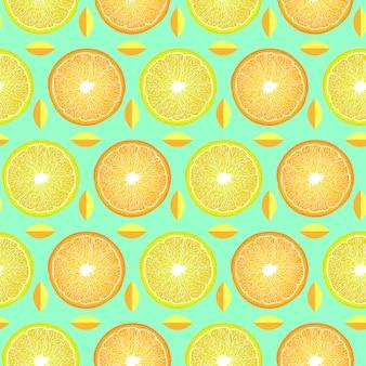 Pattern with lemon and orange slices