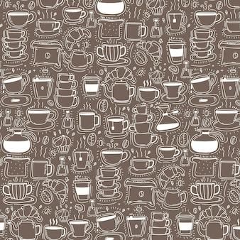 Шаблон с линии ручной обращается doodle кофе фон.