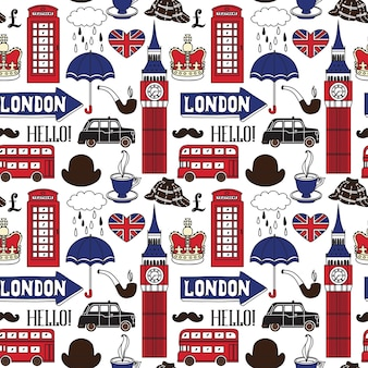 Pattern with london symbols and landmarks