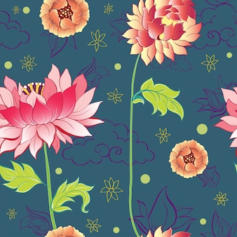 Pattern with lotus flowers, peonies and chrysanthemums