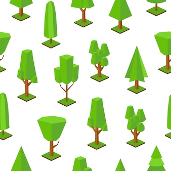 Pattern with low poly trees of various types on white background.