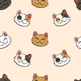 Pattern with  lucky cat (maneki neko)