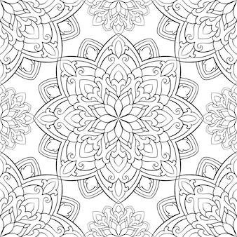 만다라와 패턴. 동양 흑백 장식.