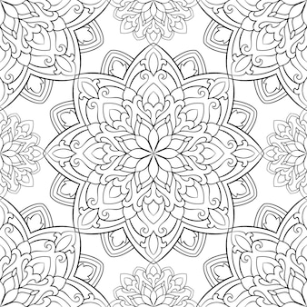 Pattern with mandalas. oriental black and white ornament.