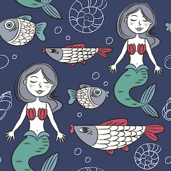 Pattern with mermaids