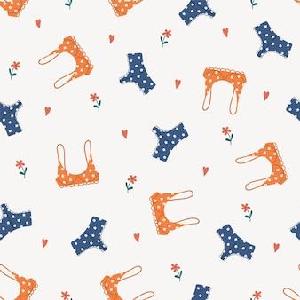 Pattern with modern female lingerie or swimwear