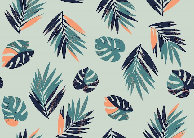 Pattern with monstera and palm leaves Premium Vector