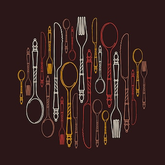 Pattern with multicolored contour cutlery in a circle on brown