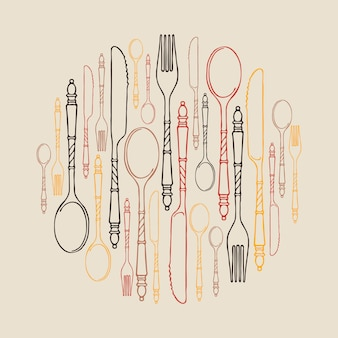 Pattern with multicolored contour cutlery in a circle on a light
