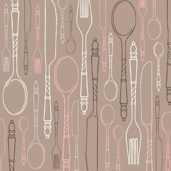 Pattern with multicolored contour vintage cutlery.