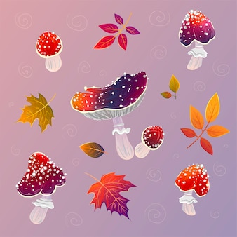 Pattern with mushrooms and autumn leaves