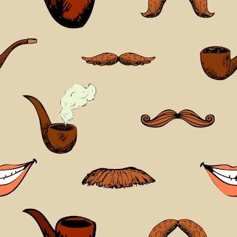 口ひげとパイプのパターン。流行に敏感な装飾のシームレスな背景。