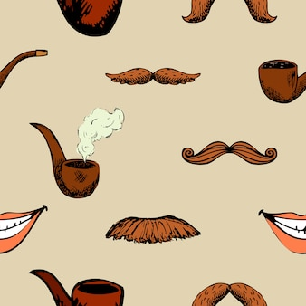 Pattern with mustache and pipe. hipster decoration seamless background.