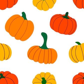 オレンジ色の秋のカボチャのパターン