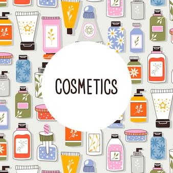 Шаблон с органической косметикой с местом для текста. набор флаконов и тюбиков, банок для ухода за кожей с кремом для лица, волос и тела. модный стиль для открыток, баннеров, шаблонов. векторная иллюстрация.