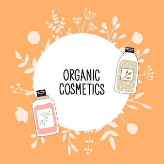 Pattern with organic cosmetics with place for text. a set of bottles and tubes, jars for skin care with face, hair and body cream. fashion style for postcards, banners, templates. vector illustration.