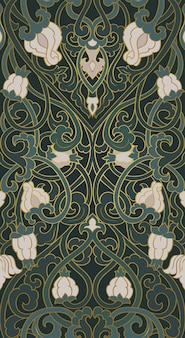Pattern with ornamental flowers green floral ornament
