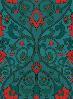 Pattern with ornamental flowers. green and red filigree ornament.