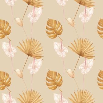 Узор с пампасами цветочная акварель