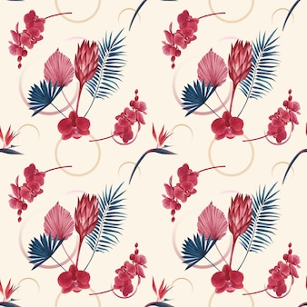 Pattern with pampas floral watercolor
