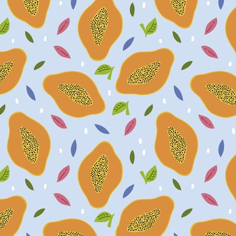 Pattern with papayas and leaves