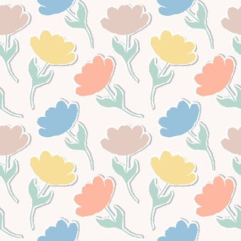 Pattern with paper tulips