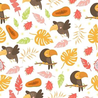 앵무새와 야자수 잎 패턴