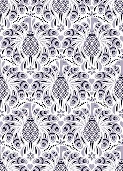 孔雀と抽象的な花のパターン