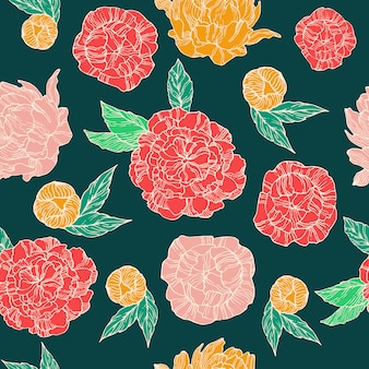 Pattern with peonies