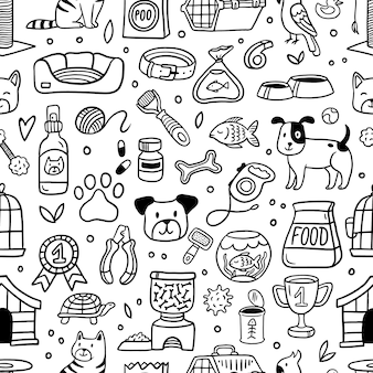 Pattern with pet elements in doodle style