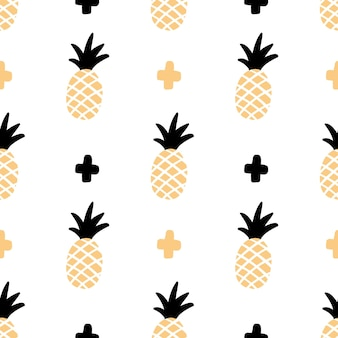 Pattern with pineapple in hand-drawn style