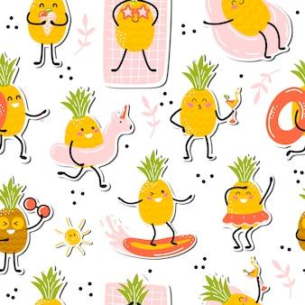 Узор с ананасом каваи. милые фрукты наслаждаются отпуском. иллюстрация в мультяшном стиле.