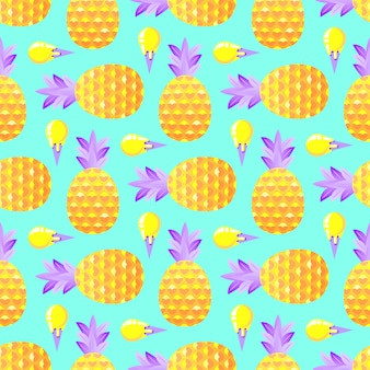 Pattern with pineapples and ice cream