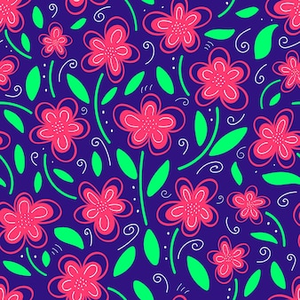 Pattern with pink flowers on a blue background