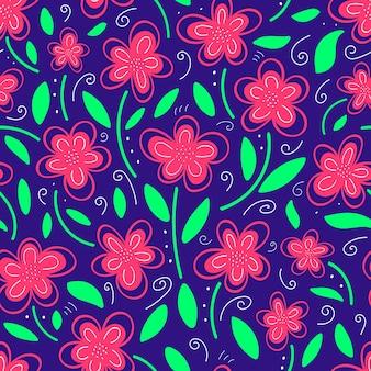 파란색 배경에 분홍색 꽃 패턴