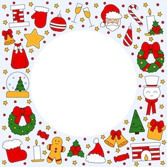 크리스마스와 새해 복 많이 받으세요의 상징으로 텍스트를 위한 장소가 있는 패턴입니다. 엽서, 직물, 배너, 축하용 템플릿, 포장지를 위한 빈티지 전통 스타일. 벡터 평면입니다.