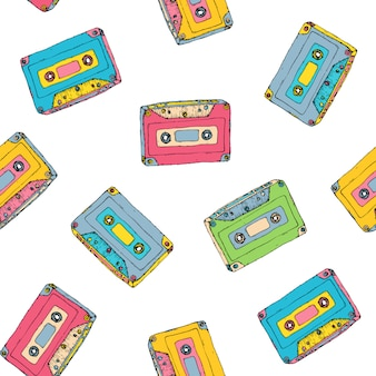 Pattern with plastic cassette, music audio tape.