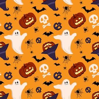 Узор с тыквами призраки черепа летучие мыши и пауки хэллоуин