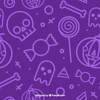 Pattern with purple background and halloween elements