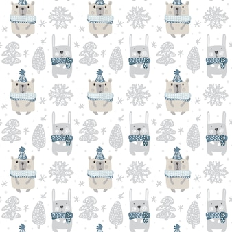 Pattern with rabbit, bear and snowflakes