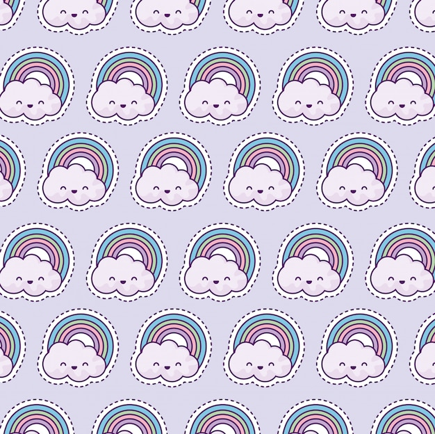Pattern with rainbow and clouds