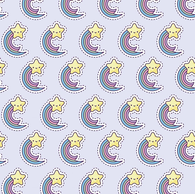 Pattern with rainbow and star