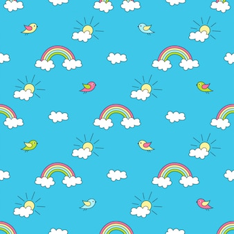 Pattern with rainbows, sun, clouds and birds