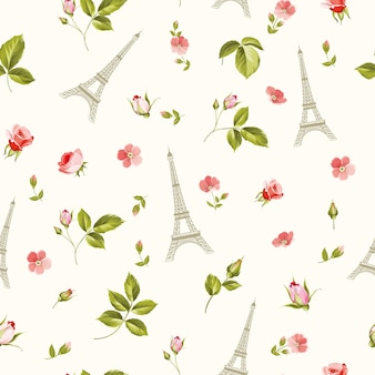 Pattern with red flowers leaves and eiffel tower.