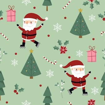 Pattern with santa , gift and the tree