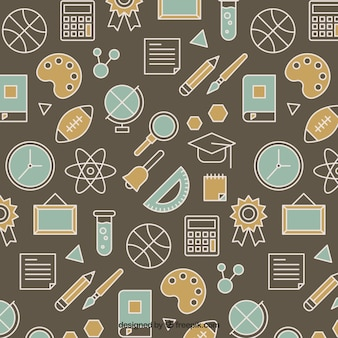 Pattern with school items