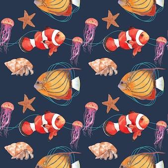 Шаблон с морской жизнью концепции дизайна акварель иллюстрации Premium векторы