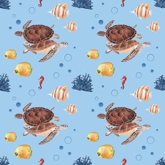 Шаблон с морской жизнью концепции дизайна акварель иллюстрации